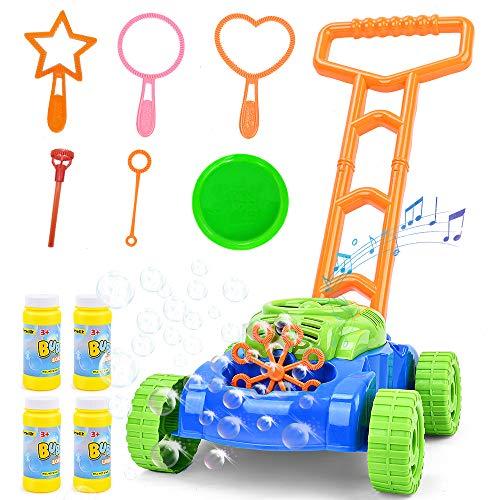 Sotodik Seifenblasen Rasenmäher für Kinder Automatische Seifenblasen Maschine mit Musik klingt Outdoor Party Spielzeug für Kleinkinder mit 4 Flaschen Lösung und 6PCS Blase Zauberstäbe Set