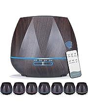 Queta 550 ml aromatherapie-diffuser, ultrasone luchtbevochtiger met grote capaciteit, huishoudelijke luchtreiniger, stille en stille aromadiffuser voor thuis en op kantoor, zwart