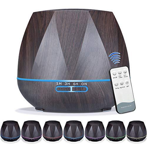 Queta 550 ml diffusore per aromaterapia, umidificatore a ultrasuoni, ad alta capacità, purificatore d\'aria domestica, diffusore di aromi silenzioso e silenzioso per casa e ufficio (nero)
