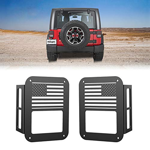 Nilight Tail Light Guards,Black Rear Light Covers Protector for 2007-2017 Wrangler JK Unlimited - Pair