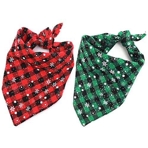 Malier 2 Pack Dog Bandana Christmas Classic Plaid Snowflake Pet Scarf Triangle Bibs Kerchief Set Pet Costume Accessories Decoration for Small Medium Large Dogs Cats Pets (Small)