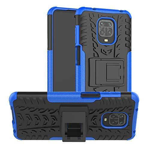 FanTing Cover per Xiaomi Redmi Note 9S, [Protezione Robusta] [Armatura Sottile] Hybrid Dual Layer Armor Soft TPU Bumper PC Rigida Protettiva Case -Blu