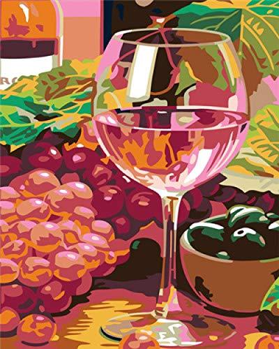 Gemei DIY olieverfschilderij per set wijnglas olieverfschilderijen knutselen acrylverf digitaal voor kinderen en volwassenen geschenk Painting door nummers 16 x 20 inch