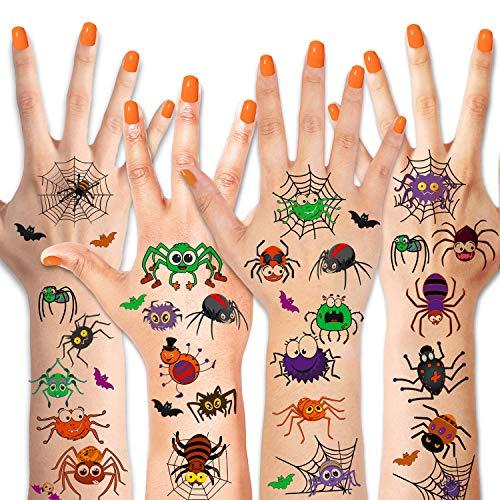 HOWAF Tatuaggi temporanei per Bambini, Halloween Ragno Tatuaggi Temporanei Glitter ,Halloween...