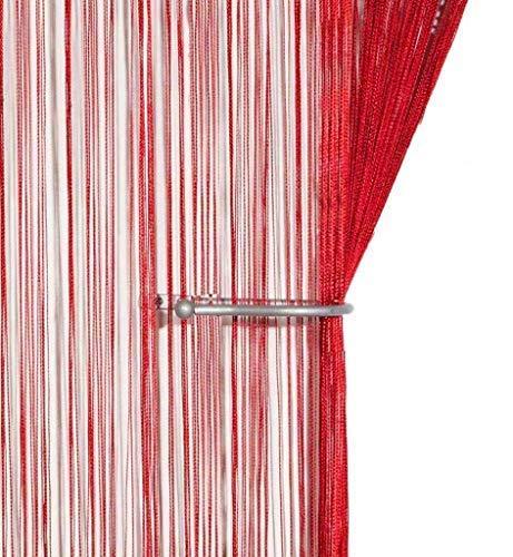 AIZESI Retro Fadenvorhang Insektenschutz Türvorhang 90x 200cm Trennwand Fenster Vorhang(Red Wine)