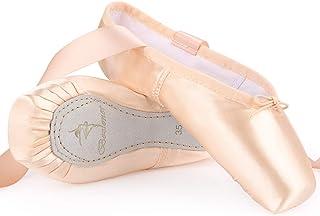 Chaussures de Pointe de Danse Doux Chaussures de Ballet pour Les débutants en Satin avec Capuchons d'orteils Protecteurs e...