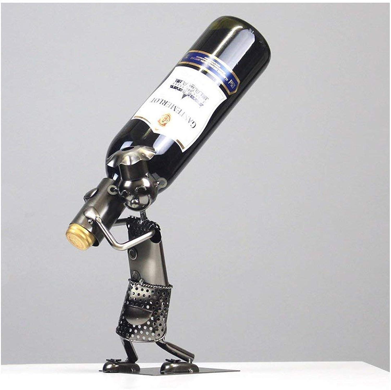 Sturdy Wine Bottle Holder Wine Rack Metal Sculpture Wine Bottle Shelf Home Decorations Interior Decorations (color   -, Size   -)