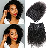 Urbeauty Kinkys Curly Clip in Human Hair Extensions for Black Women, 14 inch Afro 3C 4A Curly clip ins Human Hair Extension 2 Set together 240gram/package
