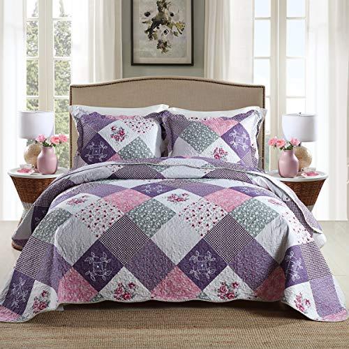 Qucover Tagesdecke Bettüberwurf 220x240 cm für Doppelbett Gesteppte Decke Set mit Kissen Patchwork mit Blumen Muster Lila