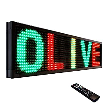 OLIVE LED Sign 3Color RGY P20 15 x40  IR Programmable Scrolling Outdoor Message Display Signs EMC - Industrial Grade Business Ad machine.