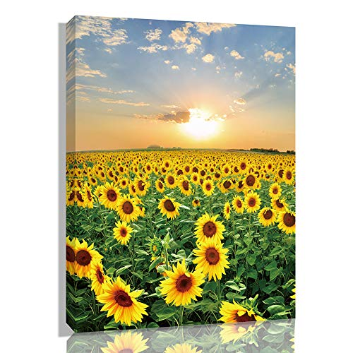 Creative View Canvas Prints Wall Art Lavender Garden Sunflower with Sunset Wall Art Painting, Elephant Beautiful Landscape, Framed Print Poster for Living Room Bedroom (sunflower)