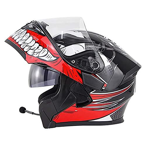 JLLXXG Casco Bluetooth abatible de Cara Completa, con Visor Dual antivaho, Casco de Motocross para Hombres y Mujeres, Radio FM, Cascos de Motocicleta