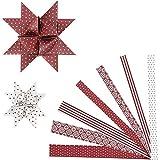 Vivi Gade Design 3D Paper Star rot/beige Fröbelsterne Falt- Papierstreifen für 15 Sterne 15+25mm
