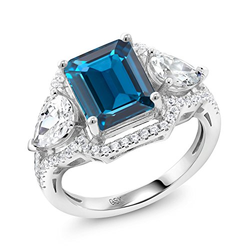 4.79 Ct Octagon London Blue Topaz 925 Sterling Silver Ring