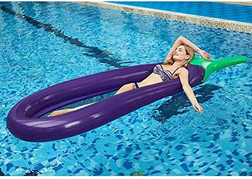 Bikini Adultos 250 * 105cm inflable gigante berenjena flotador de la piscina Colchón Tomar el sol cama de la natación del anillo del círculo Beach wâter Party Mat juguetes for niños ( Color : Purple )