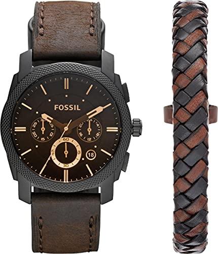 Fossil Men's Machine Quartz Stainless Steel Chronograph Watch Bracelet Set, Color: Black, Dark Brown...