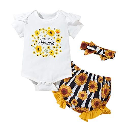 ZOEREA Conjunto de Ropa para Bebé Niña Mono de Manga Corta Romper + Shorts Estampados + Diadema Recién Nacido Trajes de Ropa 0-18 Meses