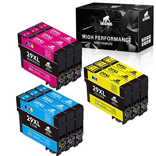IKONG 29XL Compatibile per Epson 29 Cartucce Lavora con Epson Expression Home XP-235 XP-245 XP-255 XP-247 XP-332 XP-342 XP-345 XP-352 XP-432 XP-442 XP-445 XP-452 XP-455 (3 Ciano, 3 Magenta, 3 Giallo)