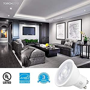 TORCHSTAR Dimmable MR16 GU10 LED Light Bulb, 7.5W (75W Equivalent), ENERGY STAR, 5000K Daylight, 40° Beam Angle, 600Lm, Track Lighting, Recessed Light, 3 YEARS WARRANTY, Pack of 6