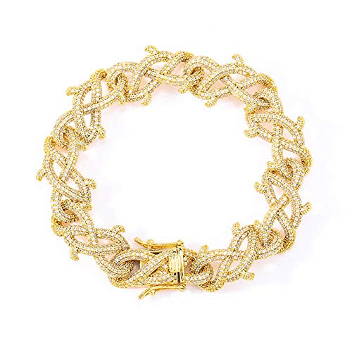 Hip Hop Pulsera de cadena Cuba con espinas de piedra, para hombres y mujeres, joyería de cristal y cadena de amor, regalo de cumpleaños para novio, mamá y papá (oro, plata), 123, dorado, 8inch
