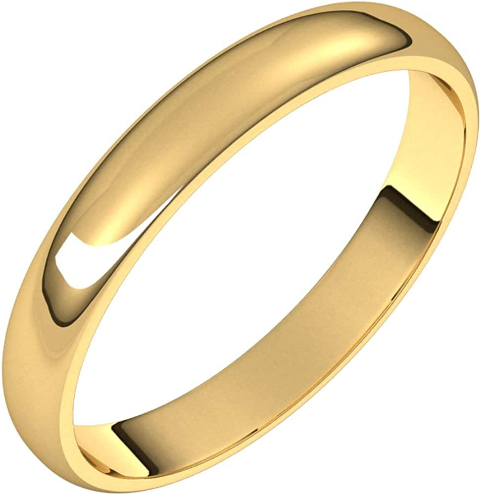 14k Yellow Gold 3mm Light Half Round S Wedding Memphis Mall Ring safety Bridal Band