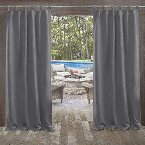 UniEco - Outdoor Curtains for Gazebo with Adhesive Tape, Mildew Resistan Pergola Curtains, Perfect for Garden Patio Balloon of Pavilion Beach House, 1 Piece, 50' W*84' H, Carbon Grey