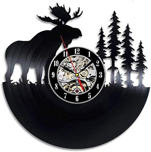 Forest gift wandklok vinyl record art deco retro stille kluis-A