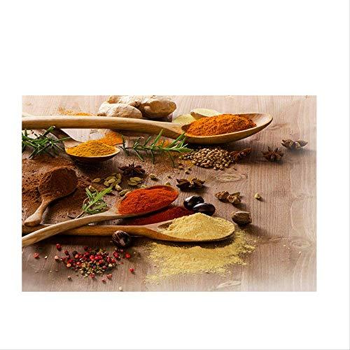 Chili Granen Diverse Kleurrijke Kruiden Lepels Keuken Canvas Schilderij Posters En Prints Wall Art Food Pictures Woonkamer 50X70Cm Geen Frame