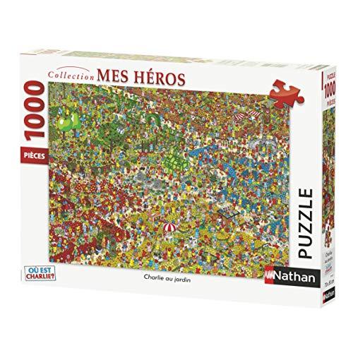 Nathan 1000Piezas jardín, Cassia Tete, Puzzle Adulto, ¿dónde está Charlie, Cherche y trouve, 4005556876211, Nada