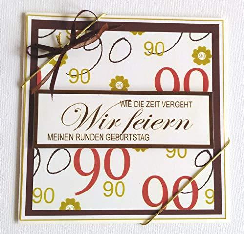 Fibula[Style) 5X Einladungskarten zum 90. Geburtstag in Creme-braun-tönen *Handmade*