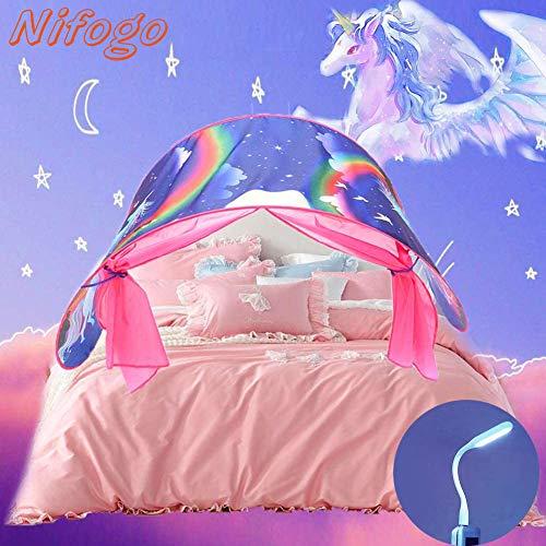 Nifogo Tienda de Cama Tienda Infantil Tienda de Dormir para niños, Decoración de la Habitación de Los Niños, Regalo de Cumpleaños (A-Unicornio)