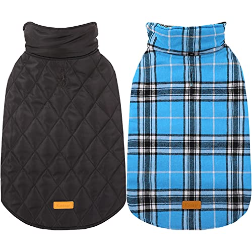 Kuoser Dog Coats Dog Jackets Waterproof Coats for Dogs Windproof Cold Weather Coats Small Medium Large Dog Clothes Reversible British Style Plaid Dog Sweaters Pets Apparel Winter Vest for Dog Blue L
