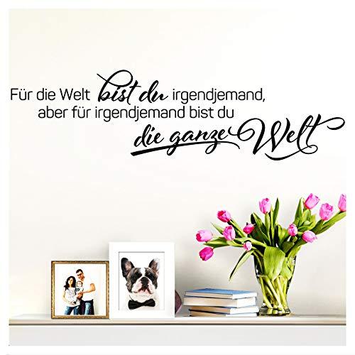Wandaro Wandsticker Spruch Für die Welt bist du | schwarz 80 x22 cm | Wandaufkleber Flur Wandspruch Wohnzimmer Wandtattoo Aufkleber W3474