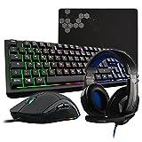 THE G-LAB Combo SELENIUM - Juego de 4 en 1 - Teclado QWERTZ para juegos con retroiluminación, 3200 ppp, ratón para juegos, auriculares y alfombrilla para ratón