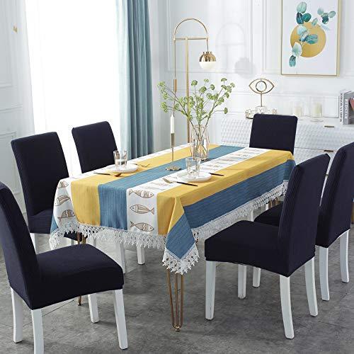 Mantel de algodón y lino a cuadros amarillo y blanco con borlas, para el hogar, la cocina, el comedor, la mesa