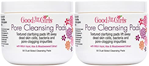 Good For You Girls Facial Cleansing Pads Control Oil and Deep Cleans Pores to Help Prevent Blackheads and Acne, Alcohol Free and Won't Dry Out Skin, Teens and Preteens, Two Pack - 50 Pads ea.