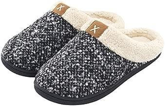 ULTRAIDEAS Women's Cozy Memory Foam Slippers Fuzzy Wool-Like Plush Fleece Lined House Shoes w/Indoor, Outdoor Anti-Skid Rubber Sole (9-10, Black/Grey)
