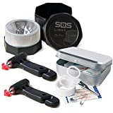 SOS LIGHT PK2692 Pack 2 MARTILLOS, portátil de Emergencia, para Coche: rompeventanas y Cortador de cinturón de Seguridad, Regalo, Caja Kit Primeros Auxilios