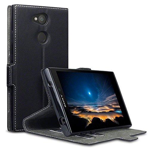 TERRAPIN, Kompatibel mit Sony Xperia L2 Hülle, Leder Tasche Case Hülle im Bookstyle mit Standfunktion Kartenfächer - Schwarz