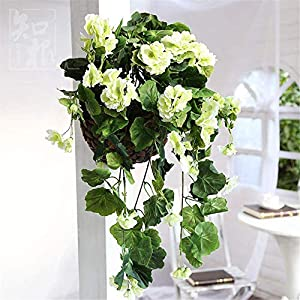 ZHHZ Artificial Flower Plants – Artificial Hanging Begonia with Woven Basket for Table Office Home Party Decoration,Pink