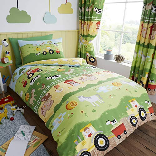 Happy Linen Company Kids Boys Girls Farm Animals Counting Sheep Green Yellow Reversible Single Bedding Duvet Cover Set