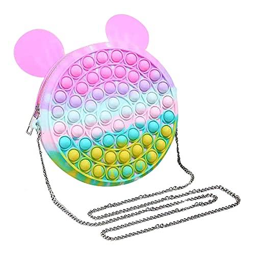 GOUWUCHE Regenbogen Rucksack Pop it Push it Fidget Toy, pop Bubble, endspannentes Anti Stress Spielzeug Sensorisches Spielzeug Autismus lindert Angstzustände. Für Kinder und Erwachsene