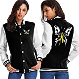 BYYKK Donna Giacche e Cappotti Bladder Cancer Ribbon Butterflies Women's Long Sleeve Baseball Jacket Baseball Jacket Uniform