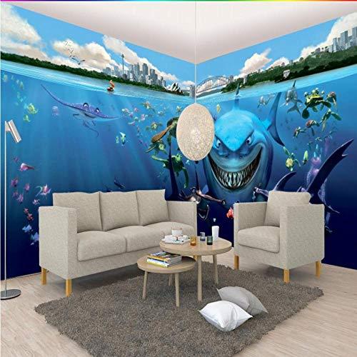Shuangklei aangepaste grootte foto 3D stereo aangepaste haai thema achtergrond behang kinderen kamer kleuterschool Aquarium muurschildering 120 cm.