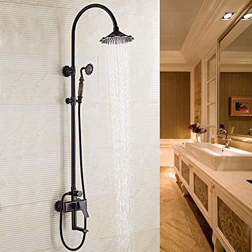 FFAN European Black Duschset, All Copper American Retro Badezimmer Wandduschkopf-Duschset, feines Kupfergehäuse, langlebig, Anti-Aging Einfach und praktisch