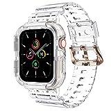 NotoCity Correa Compatible con Apple Watch SE, para Apple Watch Serie 6/5/4/3/2/1 38mm 40mm Correa de Repuesto con Funda, Creativa,Transparente (Blanco-B)