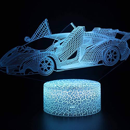 Auto-3D-lamp, 7 kleuren, LED-nachtlampje voor kinderen, touch LED-tafel, babycomic, nachtlampje