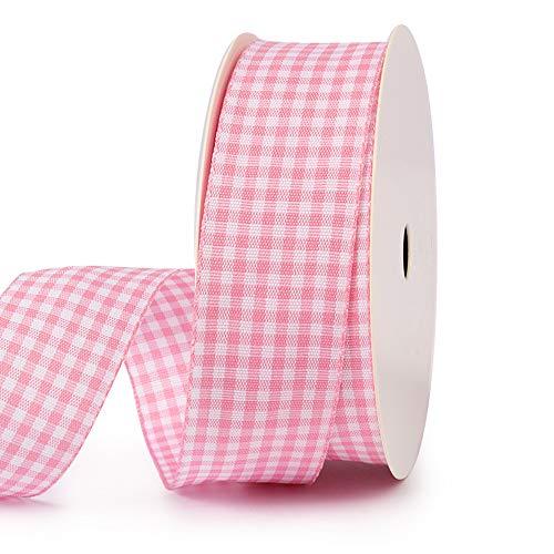 VIVIQUEN Gingham Ribbon Checkered Ribbon 1-Inch Wide Taffeta Plaid Ribbon 25 Yard Long 100% Polyester Woven Edge (Baby Pink, 1 Inch)
