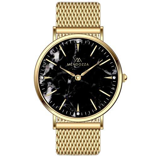 Mendozza Damenuhr Black Marble Designer Marmoruhr Schweizer Uhrwerk Saphirglas Schwarz 41 mm Gold/Gold (MW-PG0204L-GML)