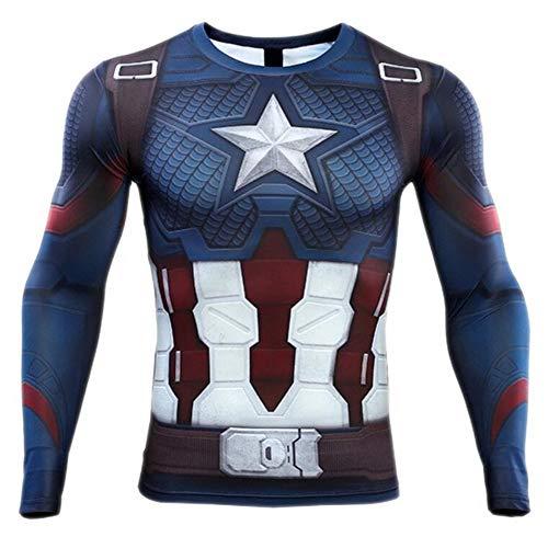 HOOLAZA 2019 Capitán América Camiseta Hombre Jogging Motion Fitness Camisa Manga Larga Manga Corta